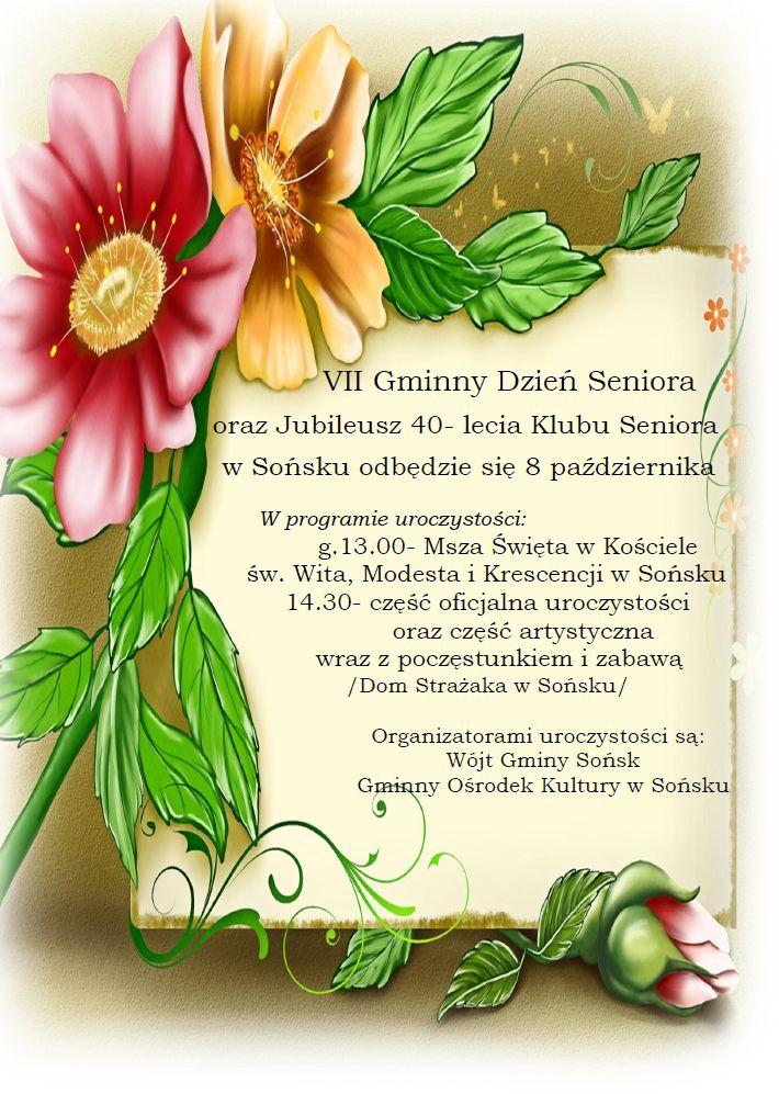 Zaproszenie Na Vii Gminny Dzień Seniora Oraz Jubileusz 40 Lecia